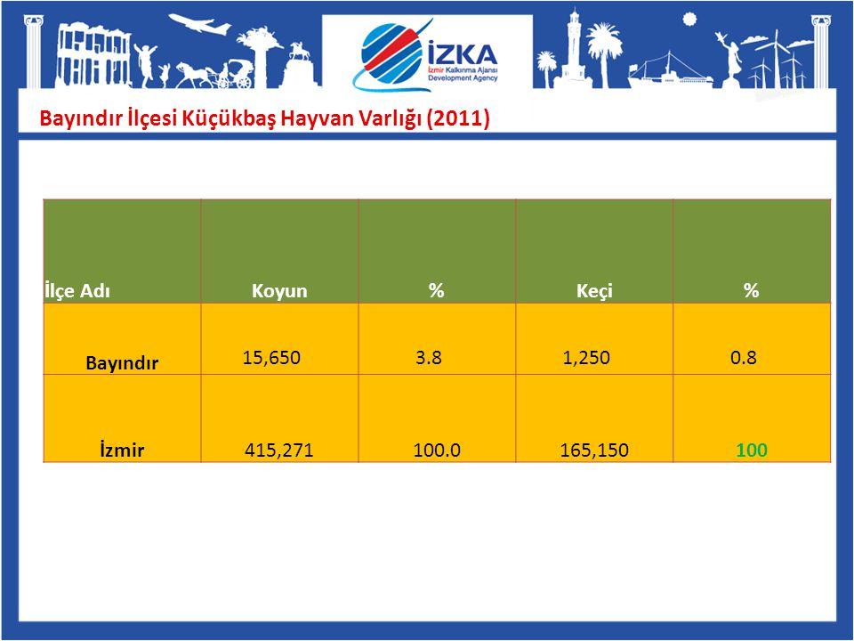 Bayındır İlçesi Küçükbaş Hayvan Varlığı (2011) İlçe AdıKoyun % Keçi % Bayındır 15,6503.81,2500.8 İzmir415,271100.0165,150100