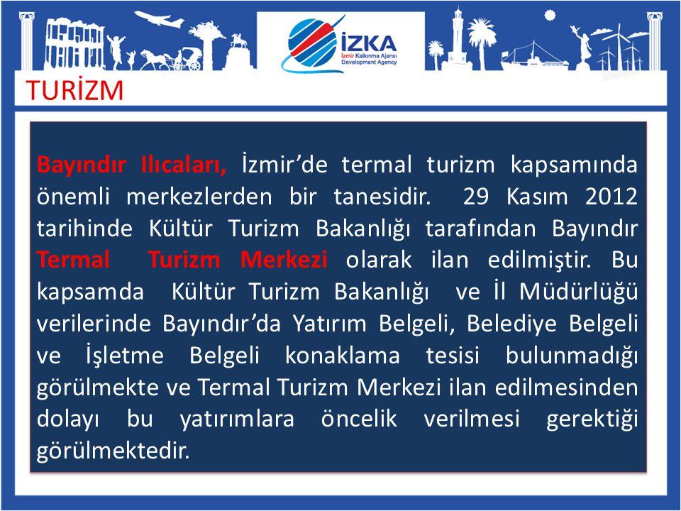 TURİZM Bayındır Ilıcaları, İzmir'de termal turizm kapsamında önemli merkezlerden bir tanesidir. 29 Kasım 2012 tarihinde Kültür Turizm Bakanlığı tarafı