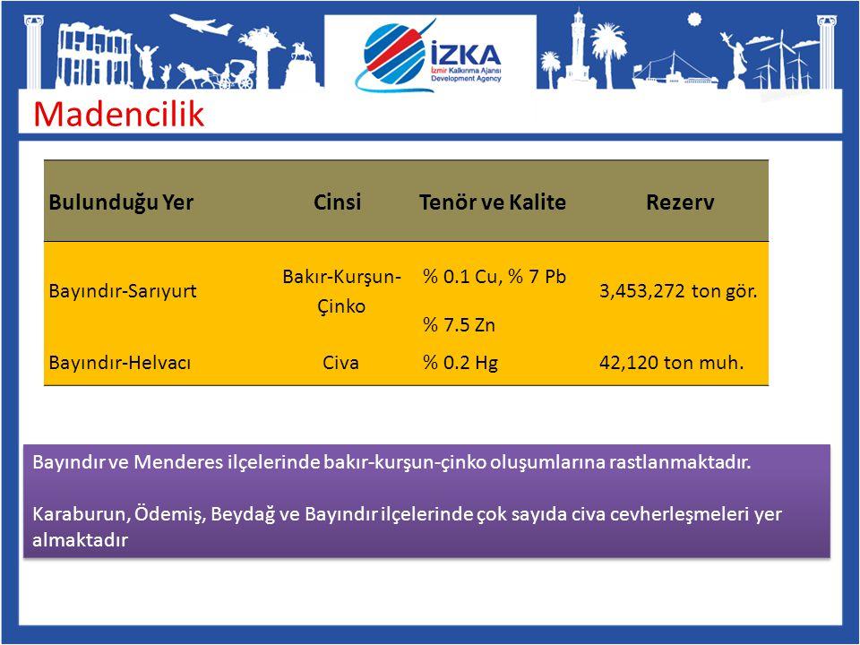 Madencilik Bayındır-Sarıyurt Bakır-Kurşun- Çinko % 0.1 Cu, % 7 Pb 3,453,272 ton gör. % 7.5 Zn Bayındır-HelvacıCiva% 0.2 Hg42,120 ton muh. Bulunduğu Ye