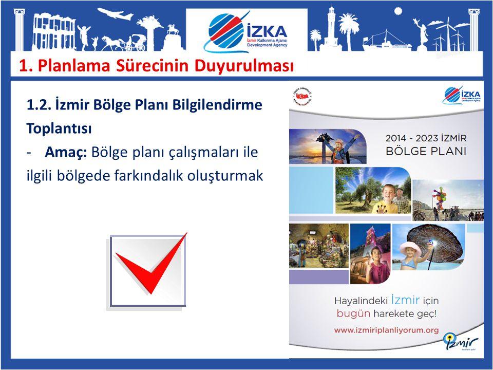 1. Planlama Sürecinin Duyurulması 1.2. İzmir Bölge Planı Bilgilendirme Toplantısı -Amaç: Bölge planı çalışmaları ile ilgili bölgede farkındalık oluştu