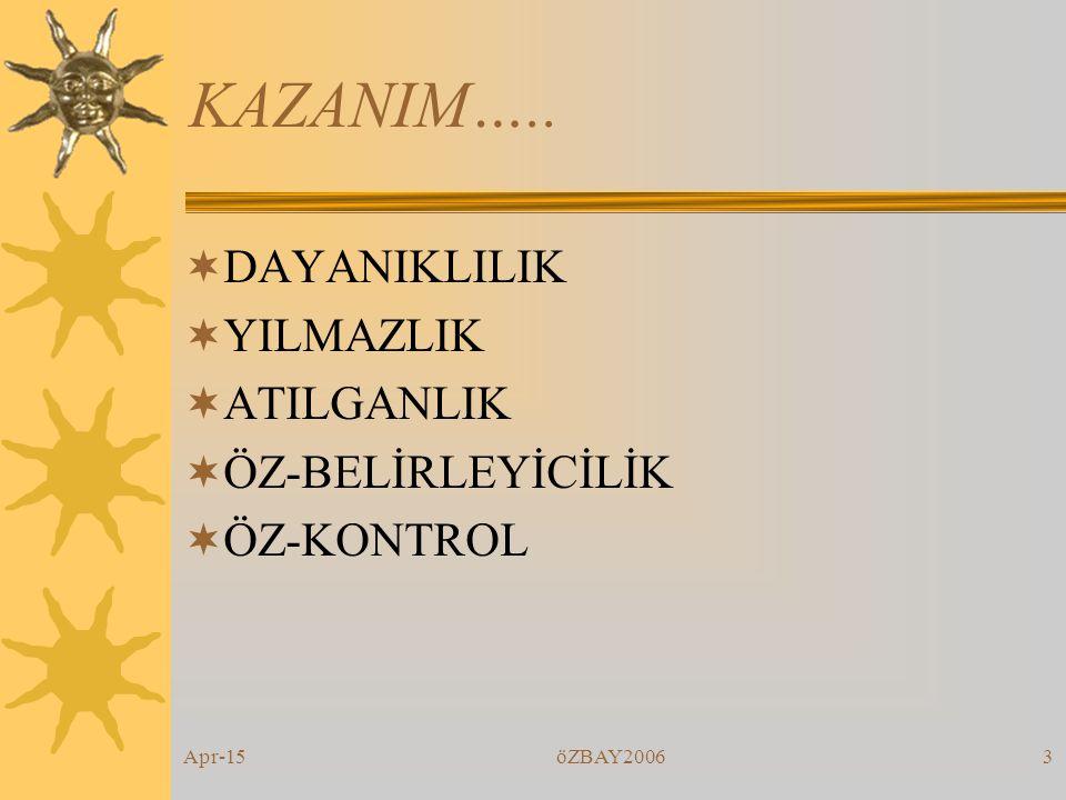 Apr-15öZBAY20062 KAZANIM…  KENDİLİK DEĞERİ  ÖZNEL İYİ OLMA  RUHSAL & MENTAL  DAHA ÇOK FONKSİYONEL OLMAK  İHTİYAÇLAR DOĞRULTUSUNDA SÜREKLİ DEĞİŞİM