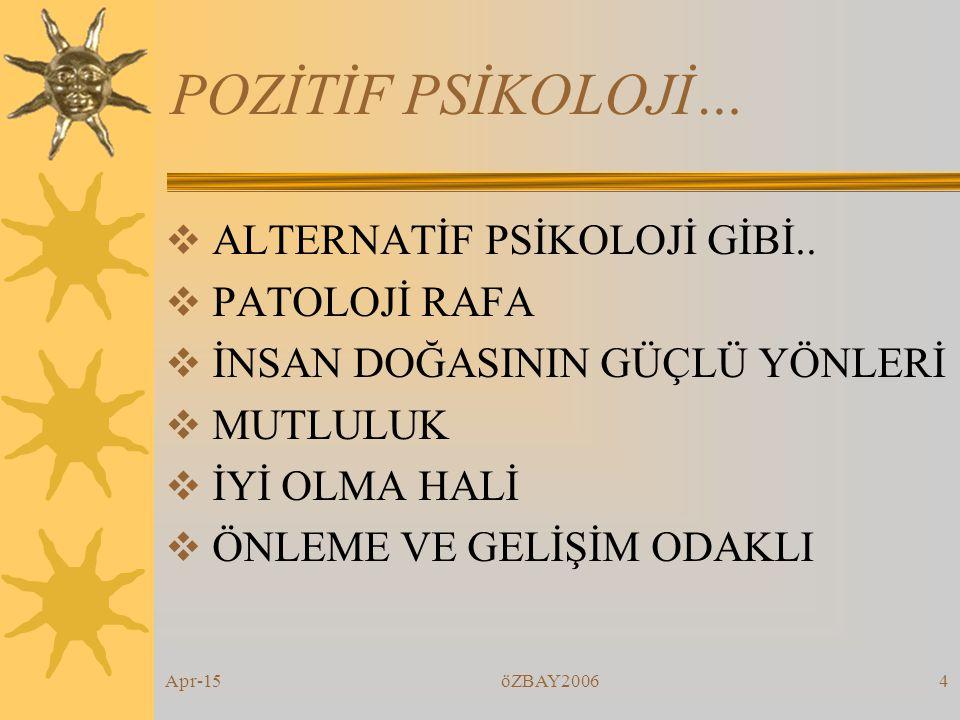 Apr-15öZBAY20064 POZİTİF PSİKOLOJİ…  ALTERNATİF PSİKOLOJİ GİBİ..