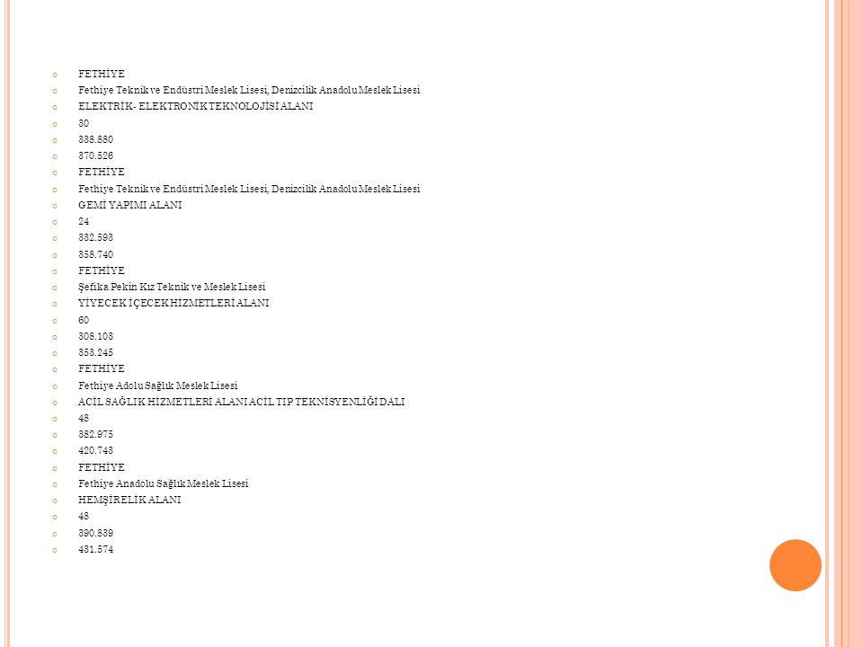 FETHİYE Fethiye Teknik ve Endüstri Meslek Lisesi, Denizcilik Anadolu Meslek Lisesi ELEKTRİK- ELEKTRONİK TEKNOLOJİSİ ALANI 30 338.880 370.526 FETHİYE F