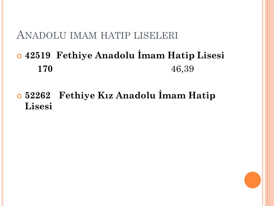 A NADOLU IMAM HATIP LISELERI 42519 Fethiye Anadolu İmam Hatip Lisesi 170 46,39 52262 Fethiye Kız Anadolu İmam Hatip Lisesi