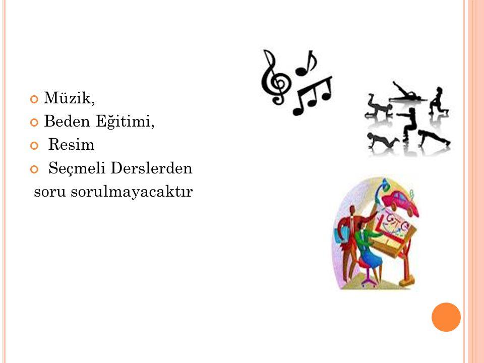 Müzik, Beden Eğitimi, Resim Seçmeli Derslerden soru sorulmayacaktır