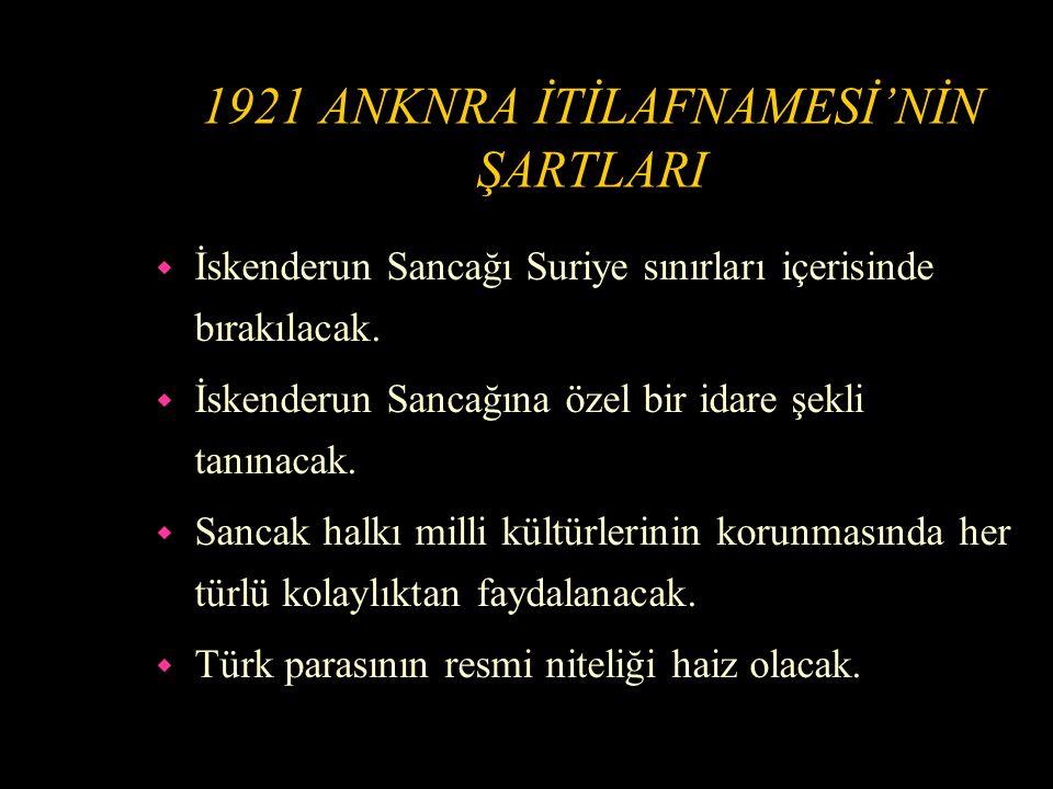 1921 ANKARA İTİLAFNAMESİ w 20 Ekim 1921'de Türkiye ile Fransa arasında Ankara İtilafnamesi imzalandı.