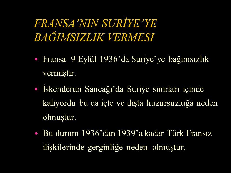 İTİLAFNAME'NİN DIŞTAKİ ETKİLERİ w Fransa Sancakta mücadeleye katılmamış Türklere af çıkardı.