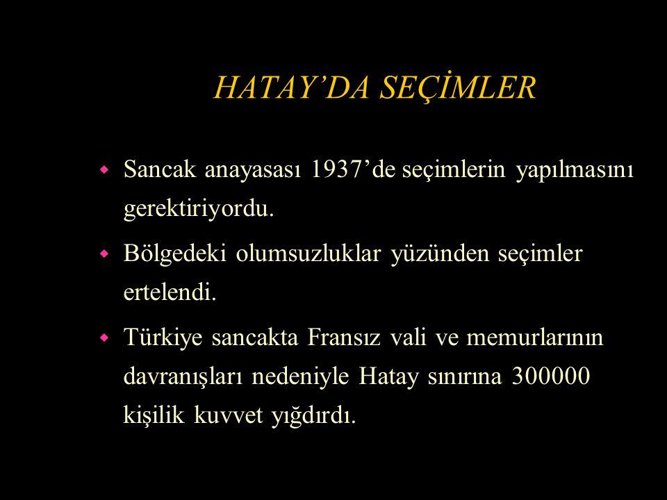 HATAY'DA KARIŞIKLIK ÇIKMASI w Hatay'da Fransız temsilcileri Anayasanın uygulanmasına mani oldular, Hatay'daki azınlıkları Türklere karşı kışkırttılar.