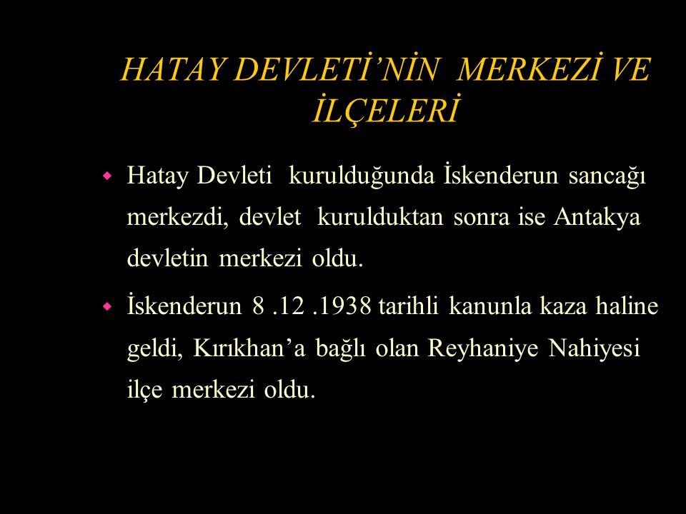 TÜRKİYE'YE İHRACAT İZNİ VERİLMESİ w 1 Aralık 1938'de Hatay ürünlerinin Türkiye'ye gümrüksüz girmesi hakkındaki kanun yürürlüğe girdi.