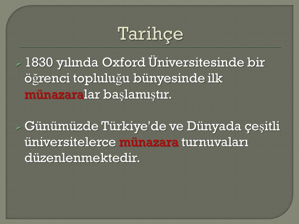  1830 yılında Oxford Üniversitesinde bir ö ğ renci toplulu ğ u bünyesinde ilk münazaralar ba ş lamı ş tır.  Günümüzde Türkiye'de ve Dünyada çe ş itl