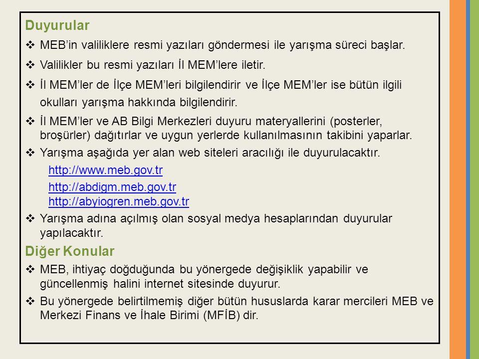 Duyurular  MEB'in valiliklere resmi yazıları göndermesi ile yarışma süreci başlar.  Valilikler bu resmi yazıları İl MEM'lere iletir.  İl MEM'ler de