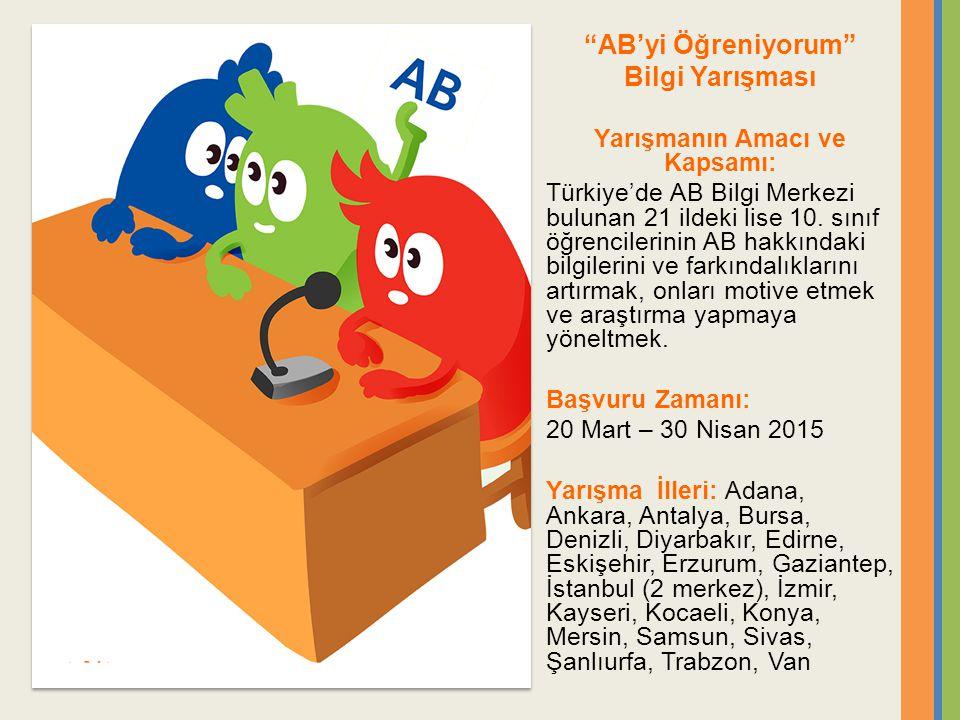 AB'yi Öğreniyorum Bilgi Yarışması Yarışmanın Amacı ve Kapsamı: Türkiye'de AB Bilgi Merkezi bulunan 21 ildeki lise 10.