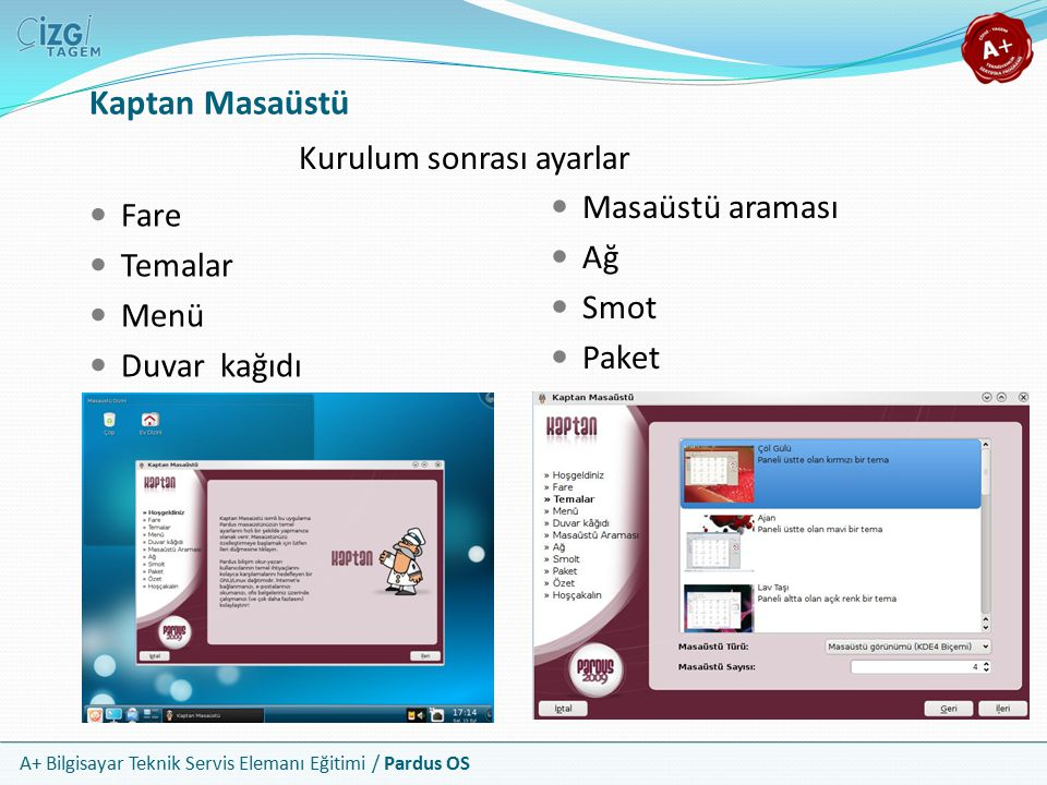 A+ Bilgisayar Teknik Servis Elemanı Eğitimi / Pardus OS Kaptan Masaüstü Kurulum sonrası ayarlar Fare Temalar Menü Duvar kağıdı Masaüstü araması Ağ Smot Paket