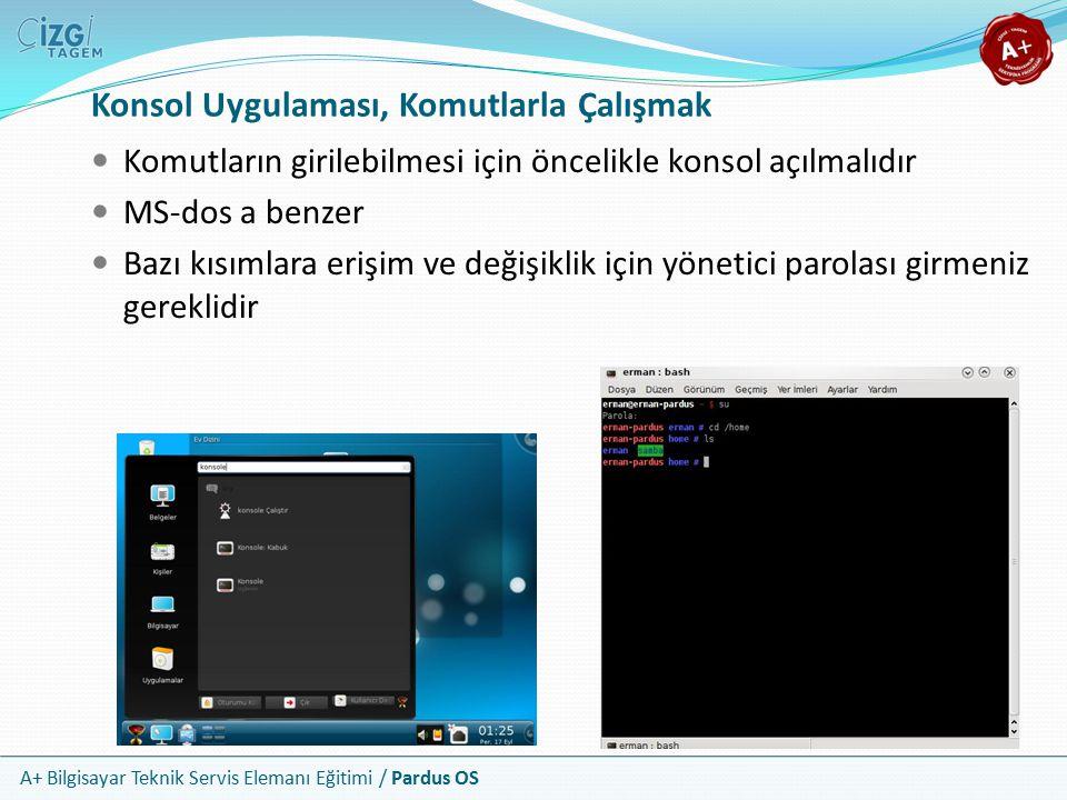 A+ Bilgisayar Teknik Servis Elemanı Eğitimi / Pardus OS Konsol Uygulaması, Komutlarla Çalışmak Komutların girilebilmesi için öncelikle konsol açılmalıdır MS-dos a benzer Bazı kısımlara erişim ve değişiklik için yönetici parolası girmeniz gereklidir