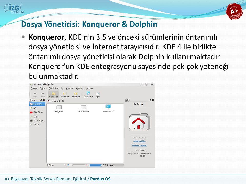 A+ Bilgisayar Teknik Servis Elemanı Eğitimi / Pardus OS Dosya Yöneticisi: Konqueror & Dolphin Konqueror, KDE nin 3.5 ve önceki sürümlerinin öntanımlı dosya yöneticisi ve İnternet tarayıcısıdır.