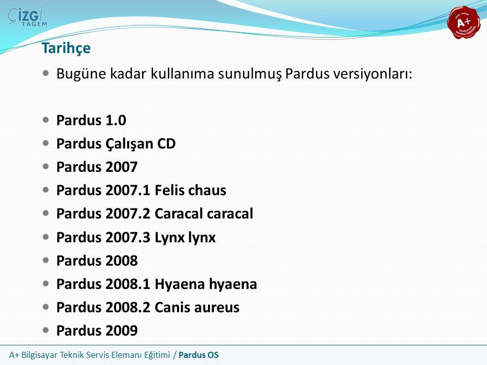 A+ Bilgisayar Teknik Servis Elemanı Eğitimi / Pardus OS Tarihçe Bugüne kadar kullanıma sunulmuş Pardus versiyonları: Pardus 1.0 Pardus Çalışan CD Pard