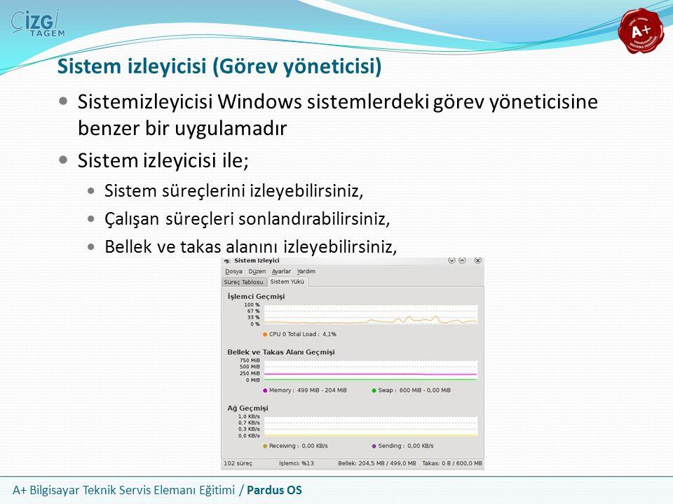 A+ Bilgisayar Teknik Servis Elemanı Eğitimi / Pardus OS Sistem izleyicisi (Görev yöneticisi) Sistemizleyicisi Windows sistemlerdeki görev yöneticisine benzer bir uygulamadır Sistem izleyicisi ile; Sistem süreçlerini izleyebilirsiniz, Çalışan süreçleri sonlandırabilirsiniz, Bellek ve takas alanını izleyebilirsiniz,