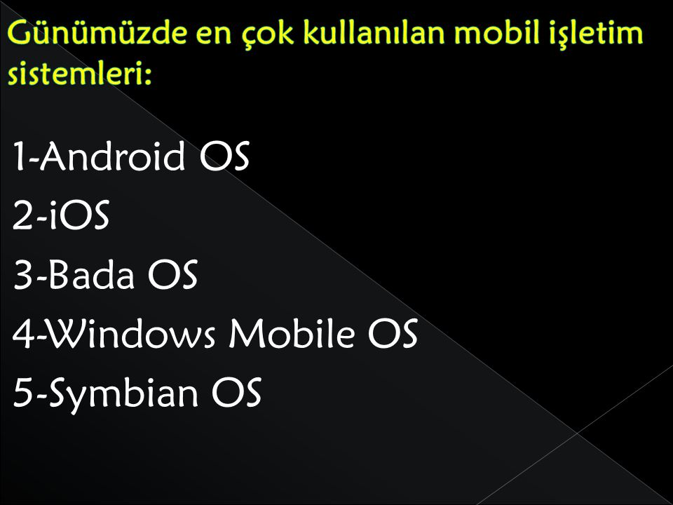1-Android OS 2-iOS 3-Bada OS 4-Windows Mobile OS 5-Symbian OS