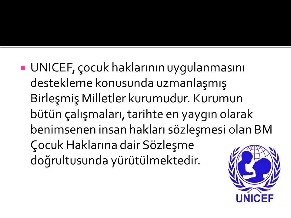  UNICEF, çocuk haklarının uygulanmasını destekleme konusunda uzmanlaşmış Birleşmiş Milletler kurumudur. Kurumun bütün çalışmaları, tarihte en yaygın