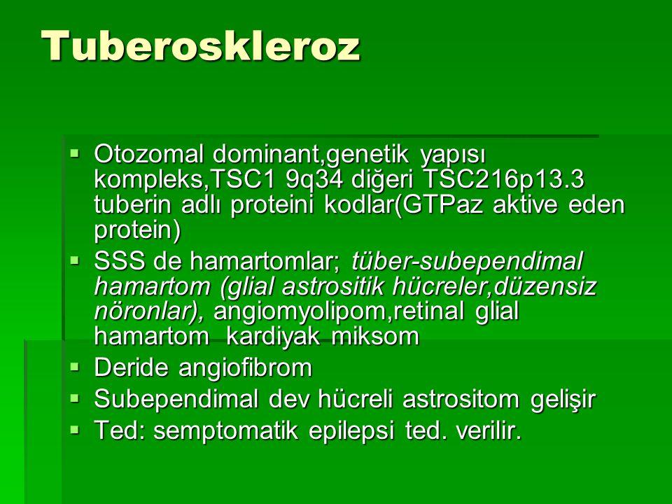 Tuberoskleroz  Otozomal dominant,genetik yapısı kompleks,TSC1 9q34 diğeri TSC216p13.3 tuberin adlı proteini kodlar(GTPaz aktive eden protein)  SSS d