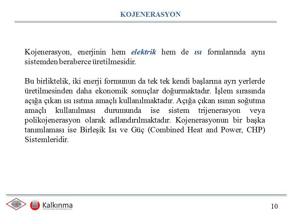10 KOJENERASYON Kojenerasyon, enerjinin hem elektrik hem de ısı formlarında aynı sistemden beraberce üretilmesidir.