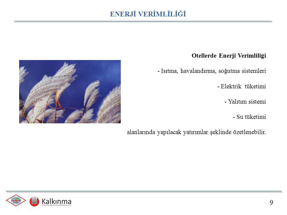 9 ENERJİ VERİMLİLİĞİ Otellerde Enerji Verimliliği - Isıtma, havalandırma, soğutma sistemleri - Elektrik tüketimi - Yalıtım sistemi - Su tüketimi alanl