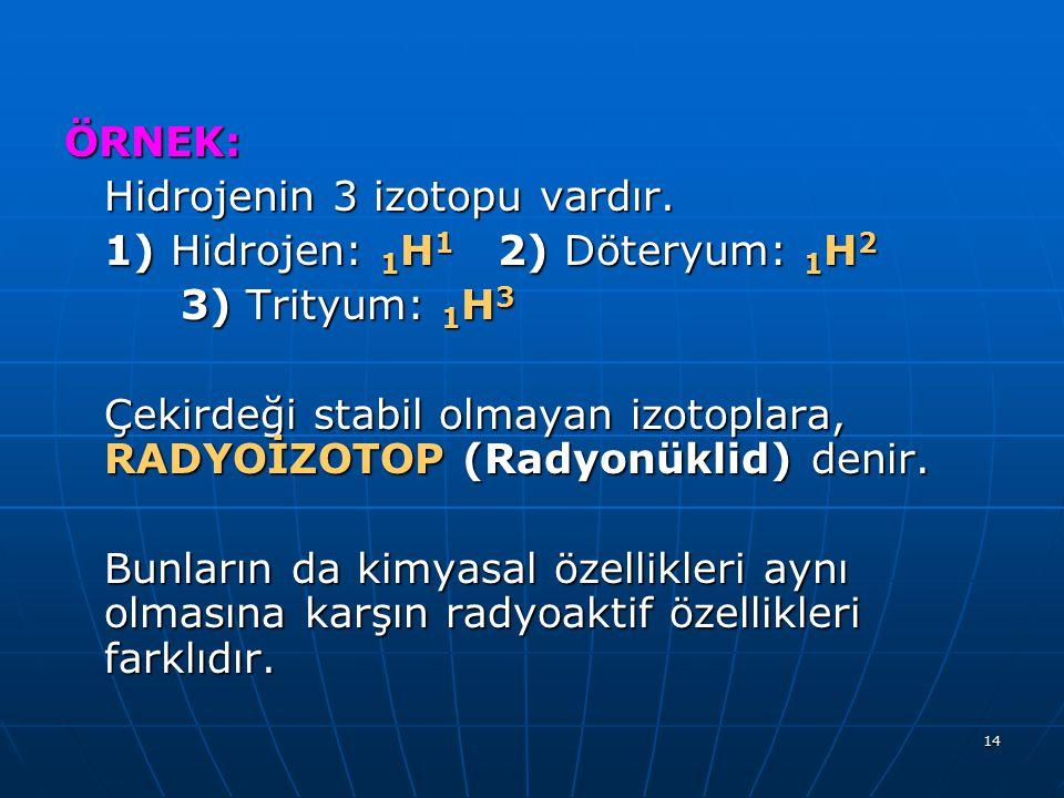 14 ÖRNEK: Hidrojenin 3 izotopu vardır. 1) Hidrojen: 1 H 1 2) Döteryum: 1 H 2 3) Trityum: 1 H 3 3) Trityum: 1 H 3 Çekirdeği stabil olmayan izotoplara,