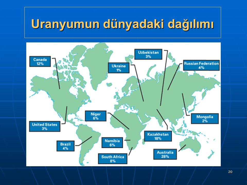 20 Uranyumun dünyadaki dağılımı