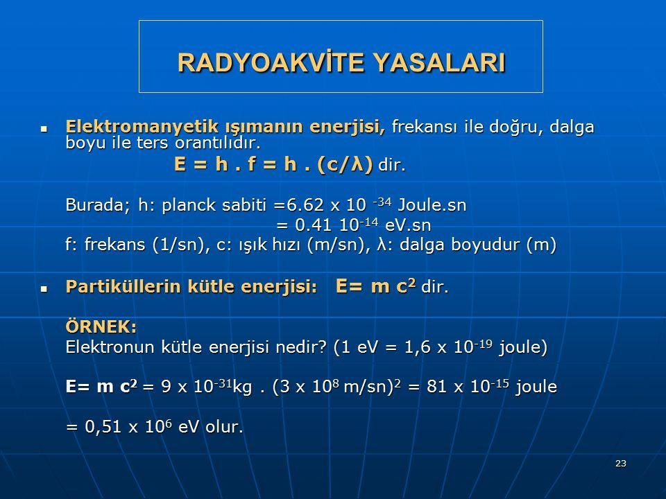 23 RADYOAKVİTE YASALARI Elektromanyetik ışımanın enerjisi, frekansı ile doğru, dalga boyu ile ters orantılıdır. Elektromanyetik ışımanın enerjisi, fre