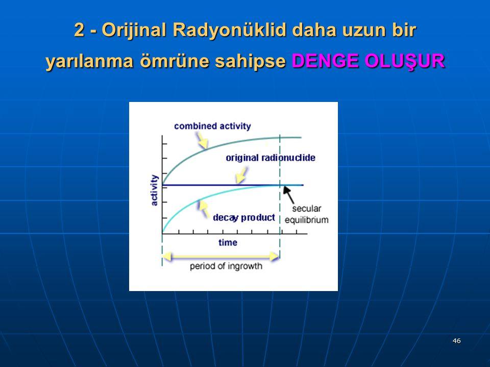 46 2 - Orijinal Radyonüklid daha uzun bir yarılanma ömrüne sahipse DENGE OLUŞUR