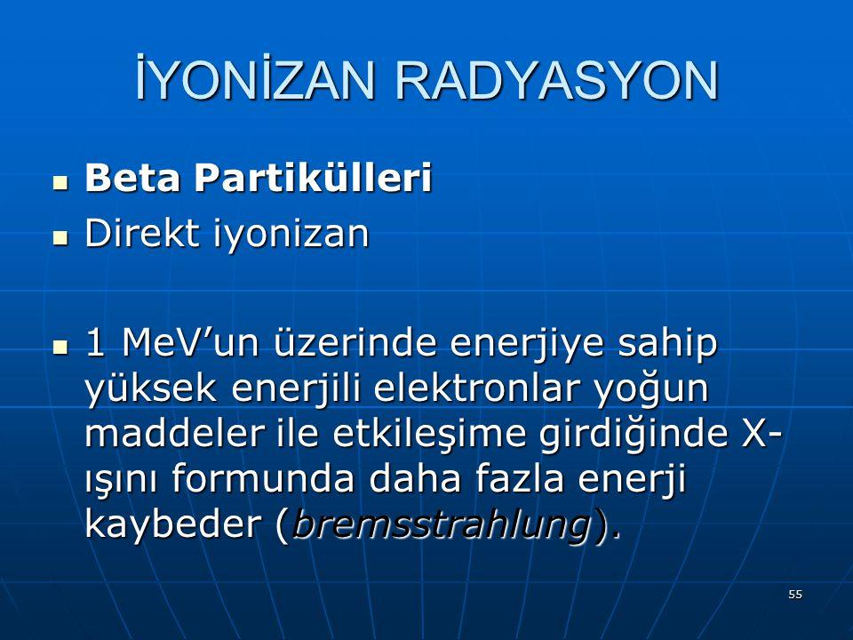 55 Beta Partikülleri Beta Partikülleri Direkt iyonizan Direkt iyonizan 1 MeV'un üzerinde enerjiye sahip yüksek enerjili elektronlar yoğun maddeler ile