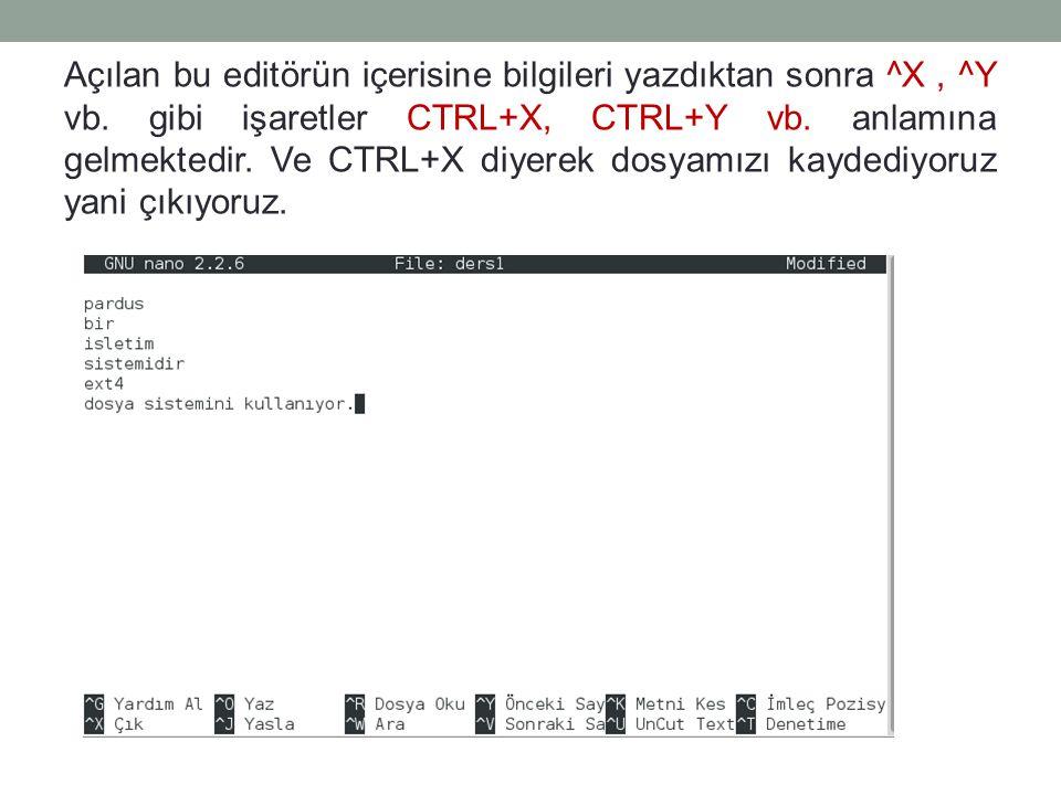 Açılan bu editörün içerisine bilgileri yazdıktan sonra ^X, ^Y vb. gibi işaretler CTRL+X, CTRL+Y vb. anlamına gelmektedir. Ve CTRL+X diyerek dosyamızı