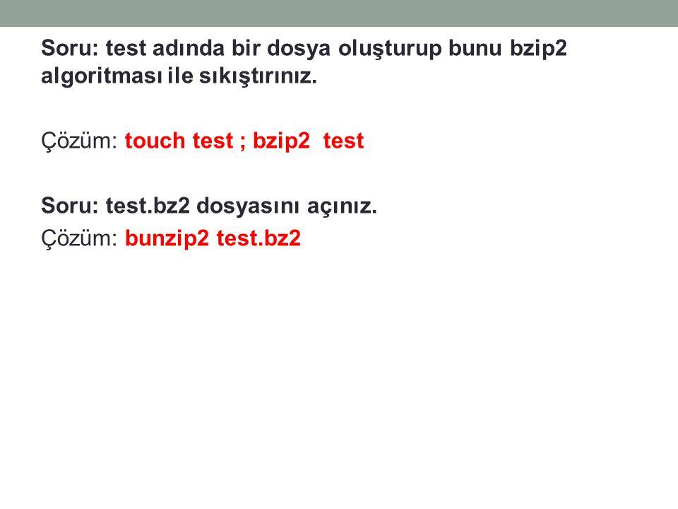 Soru: test adında bir dosya oluşturup bunu bzip2 algoritması ile sıkıştırınız. Çözüm: touch test ; bzip2 test Soru: test.bz2 dosyasını açınız. Çözüm: