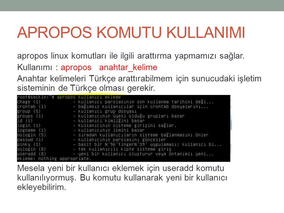 APROPOS KOMUTU KULLANIMI apropos linux komutları ile ilgili arattırma yapmamızı sağlar. Kullanımı : apropos anahtar_kelime Anahtar kelimeleri Türkçe a