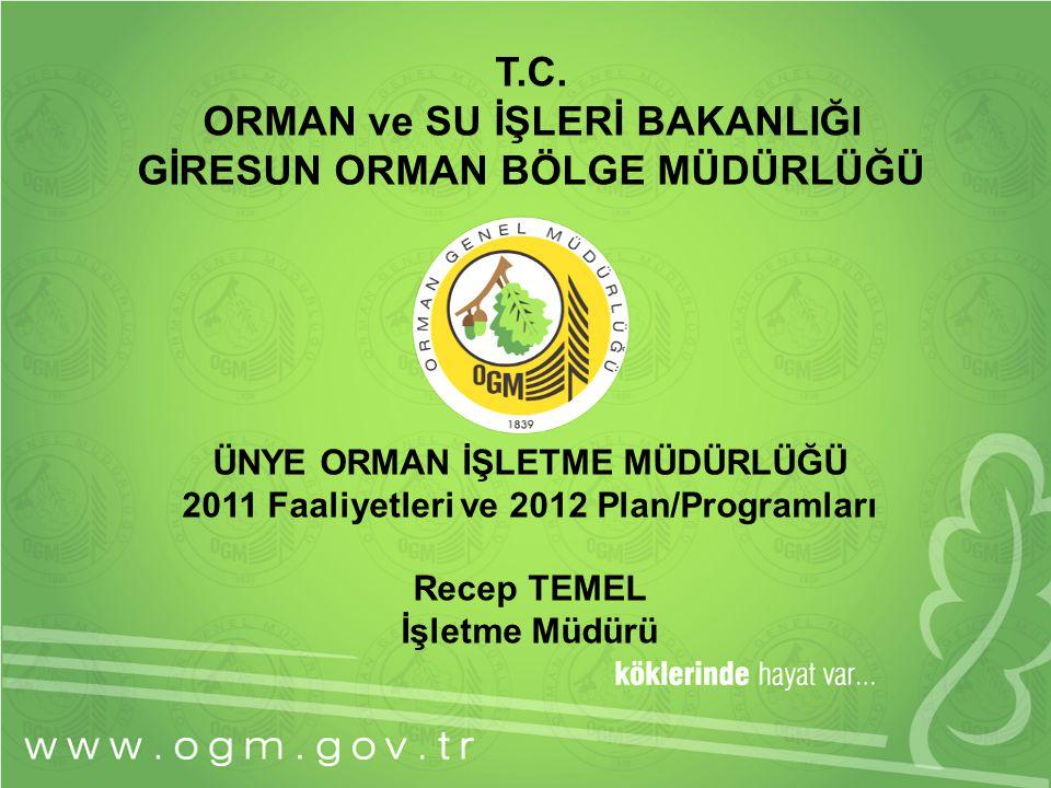 ÜNYE ORMAN İŞLETME MÜDÜRLÜĞÜ 2011 Faaliyetleri ve 2012 Plan/Programları Recep TEMEL İşletme Müdürü T.C. ORMAN ve SU İŞLERİ BAKANLIĞI GİRESUN ORMAN BÖL