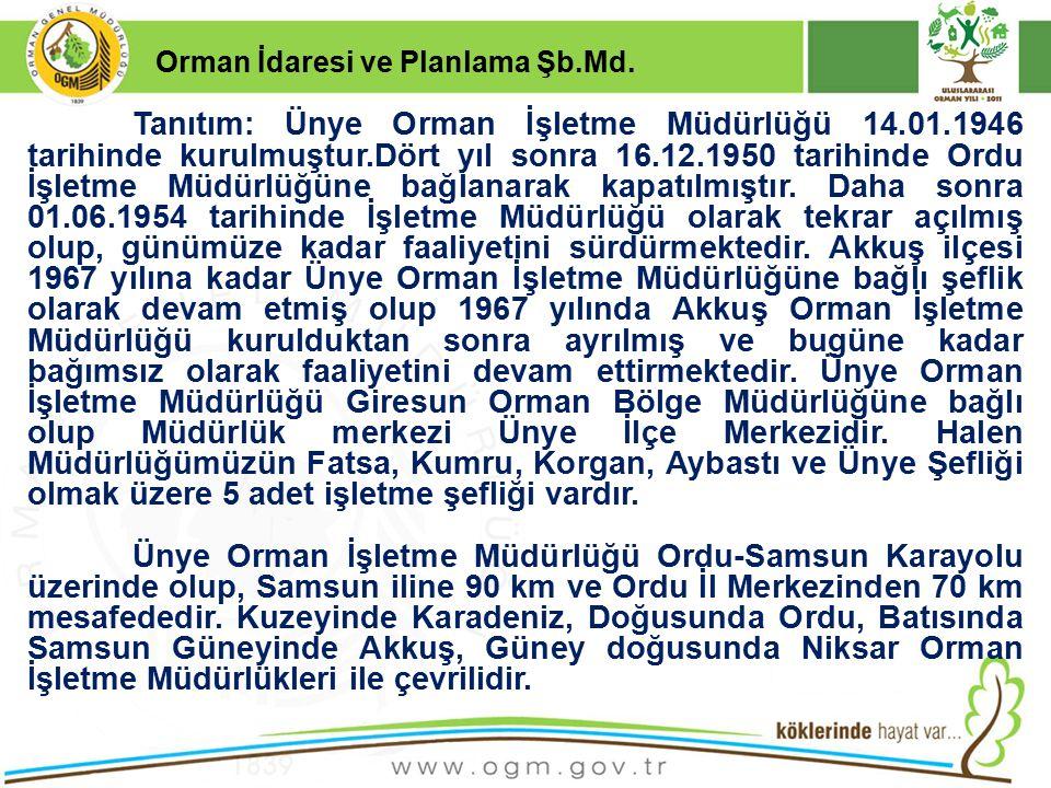 16/12/2010 Kurumsal Kimlik 2 Orman İdaresi ve Planlama Şb.Md. Tanıtım: Ünye Orman İşletme Müdürlüğü 14.01.1946 tarihinde kurulmuştur.Dört yıl sonra 16