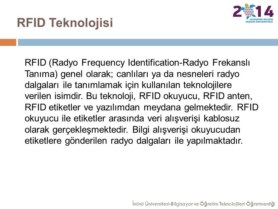 RFID Teknolojisi RFID (Radyo Frequency Identification-Radyo Frekanslı Tanıma) genel olarak; canlıları ya da nesneleri radyo dalgaları ile tanımlamak i