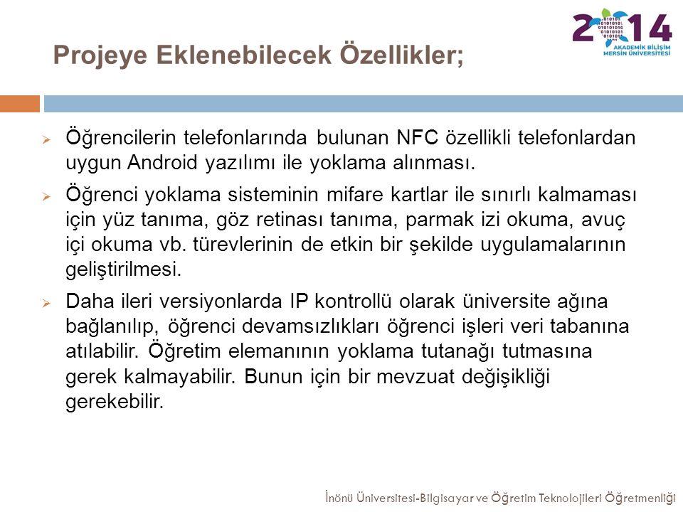 Projeye Eklenebilecek Özellikler;  Öğrencilerin telefonlarında bulunan NFC özellikli telefonlardan uygun Android yazılımı ile yoklama alınması.  Öğr