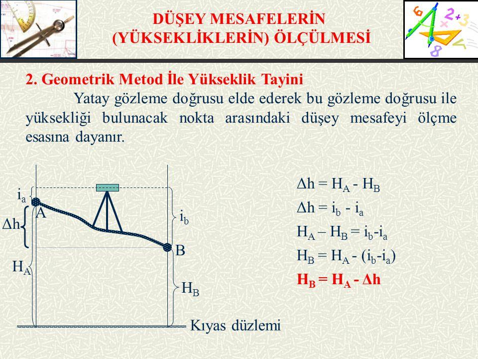 DÜŞEY MESAFELERİN (YÜKSEKLİKLERİN) ÖLÇÜLMESİ 2. Geometrik Metod İle Yükseklik Tayini Yatay gözleme doğrusu elde ederek bu gözleme doğrusu ile yüksekli
