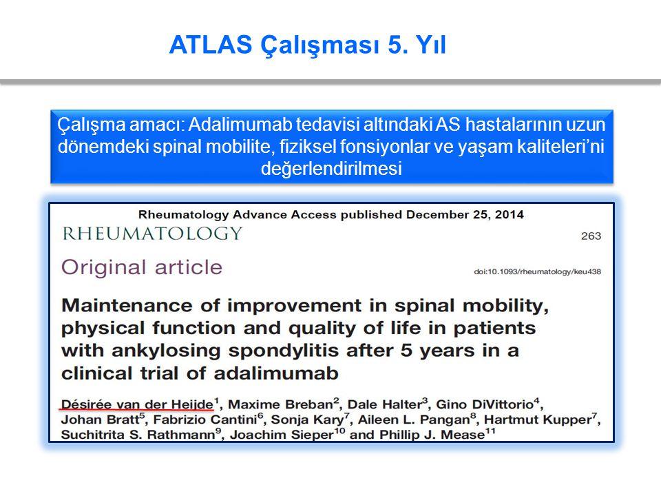 ATLAS Çalışması 5. Yıl Çalışma amacı: Adalimumab tedavisi altındaki AS hastalarının uzun dönemdeki spinal mobilite, fiziksel fonsiyonlar ve yaşam kali
