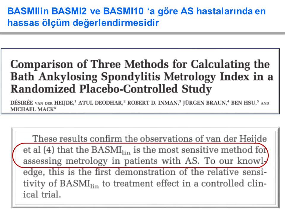 BASMIlin BASMI2 ve BASMI10 'a göre AS hastalarında en hassas ölçüm değerlendirmesidir