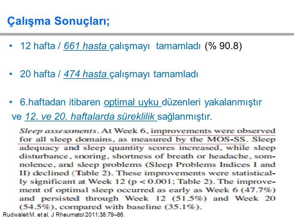 12 hafta / 661 hasta çalışmayı tamamladı (% 90.8) 20 hafta / 474 hasta çalışmayı tamamladı 6.haftadan itibaren optimal uyku düzenleri yakalanmıştır ve