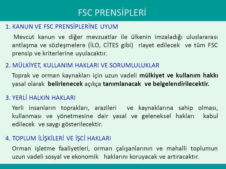 FSC PRENSİPLERİ 1. KANUN VE FSC PRENSİPLERİNE UYUM Mevcut kanun ve diğer mevzuatlar ile ülkenin imzaladığı uluslararası antlaşma ve sözleşmelere (İLO,