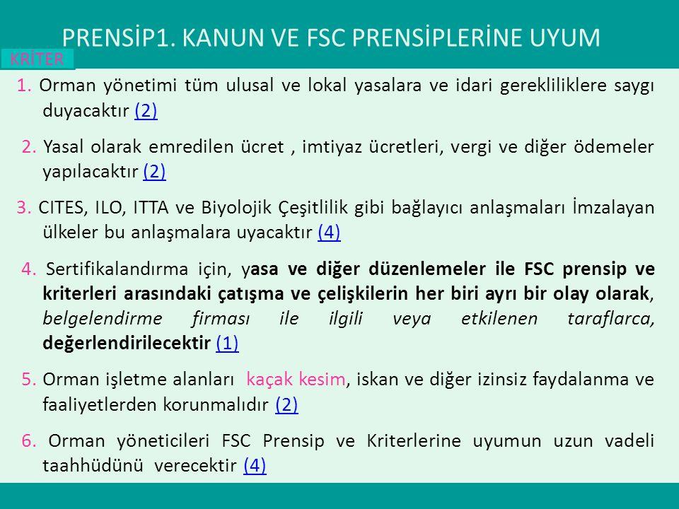 PRENSİP1. KANUN VE FSC PRENSİPLERİNE UYUM 1. Orman yönetimi tüm ulusal ve lokal yasalara ve idari gerekliliklere saygı duyacaktır (2)(2) 2. Yasal olar