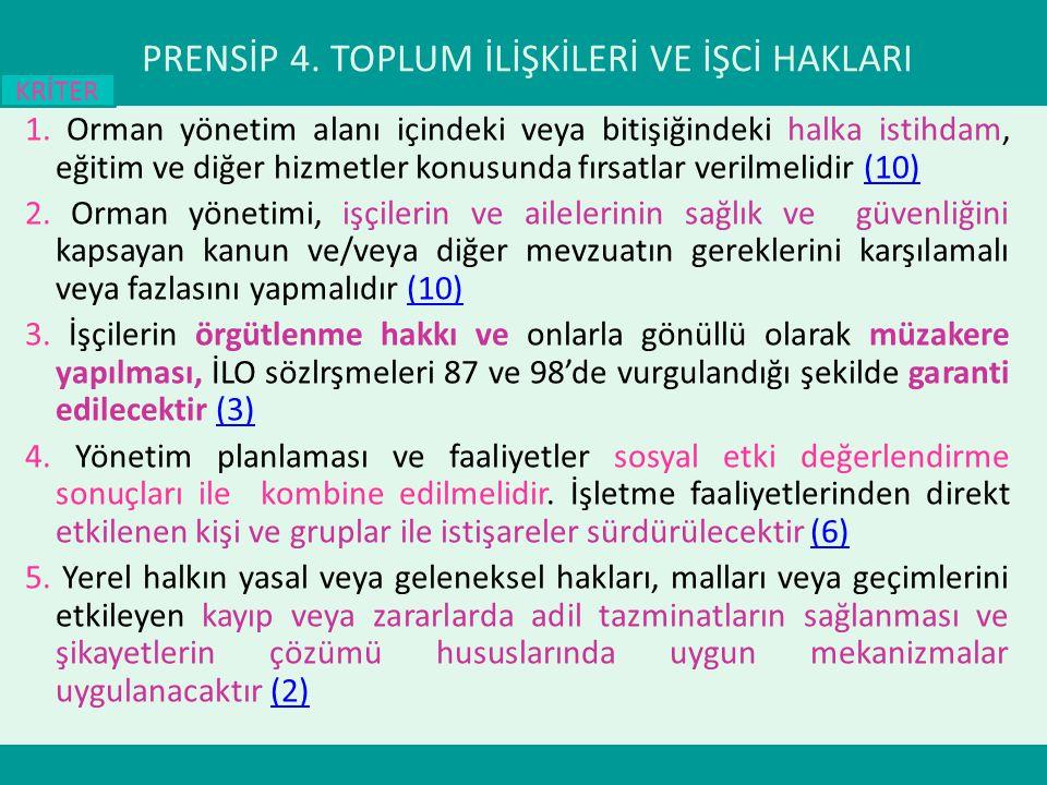 1. Orman yönetim alanı içindeki veya bitişiğindeki halka istihdam, eğitim ve diğer hizmetler konusunda fırsatlar verilmelidir (10)(10) 2. Orman yöneti