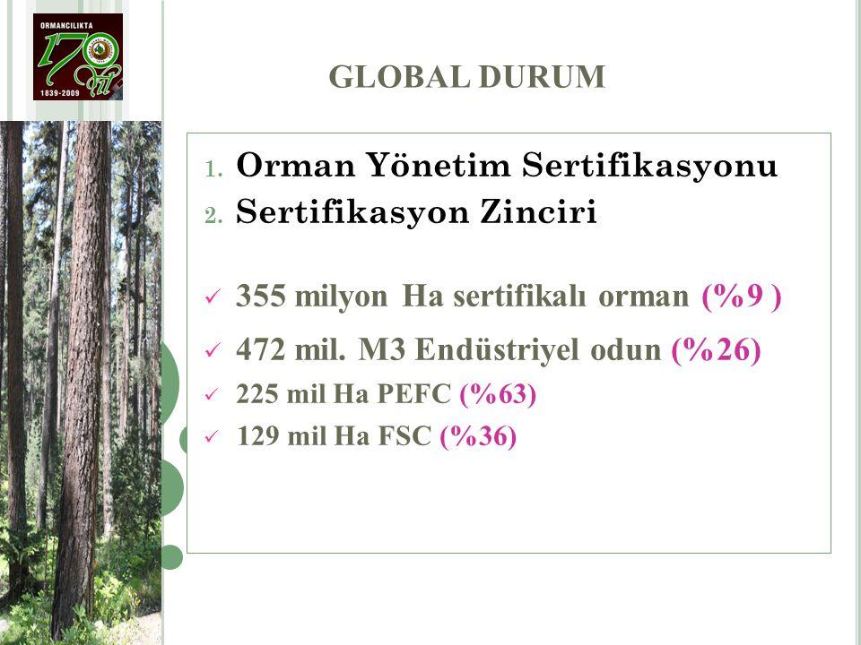 GLOBAL DURUM 1. Orman Yönetim Sertifikasyonu 2. Sertifikasyon Zinciri 355 milyon Ha sertifikalı orman (%9 ) 472 mil. M3 Endüstriyel odun (%26) 225 mil