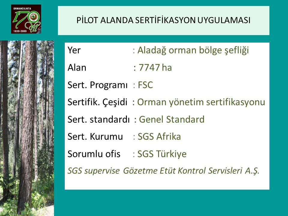 PİLOT ALANDA SERTİFİKASYON UYGULAMASI Yer : Aladağ orman bölge şefliği Alan : 7747 ha Sert. Programı : FSC Sertifik. Çeşidi : Orman yönetim sertifikas