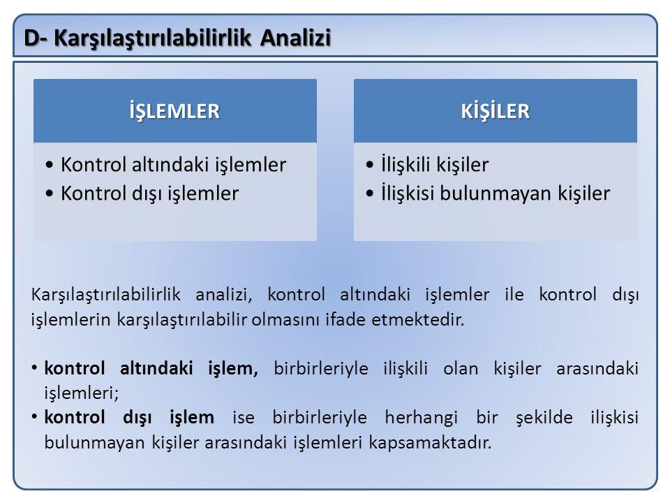 D- Karşılaştırılabilirlik Analizi Karşılaştırılabilirlik analizi, kontrol altındaki işlemler ile kontrol dışı işlemlerin karşılaştırılabilir olmasını ifade etmektedir.