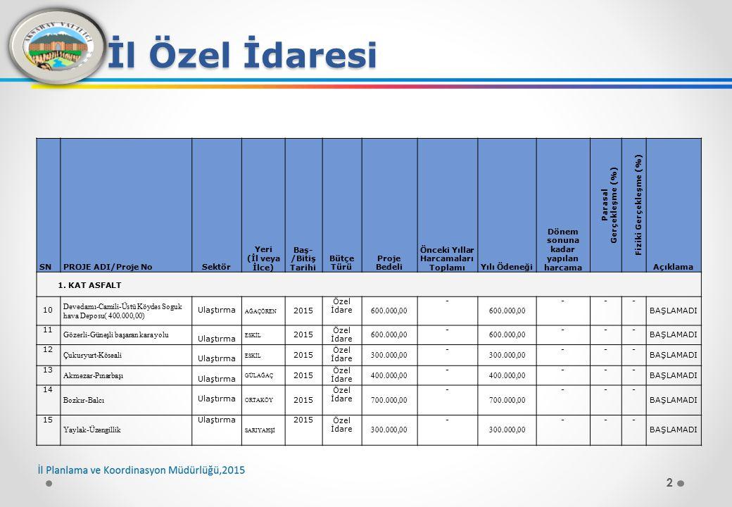 13 İl Özel İdaresi SNPROJE ADI/Proje NoSektör Yeri (İl veya İlce) Baş- /Bitiş Tarihi Bütçe Türü Proje Bedeli Önceki Yıllar Harcamala rı Toplamı Yılı Ödeneği Dönem sonuna kadar yapılan harcama Parasal Gerçekleşme (%) Fiziki Gerçekleşme (%) Açıklama BAKIM ONARIM 123 H.İbrahimuşağı - Pınarbaşı Ulaştırma ORTAKÖY 2015 Özel İdare 12.600,00 - --- BAŞLAMADI 124 045 KKN Ky.ilt.