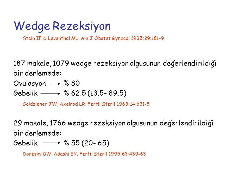 LOD L/S, 5-8 adet, 2-4 mm derinliğinde, 2-4 sn 200-300 w (ortalama 3750 j/ over) termal enerji n= 62 LOD olgusu Ovülasyon (3 ayda)% 92 Gebelik% 69 Gjonnaess H Fertil Steril 1984;41:20-25